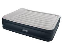 Высокая двухспальная надувная кровать Intex 67738 (203X152X43 см) + встроенный насос HN