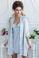 Халат домашний женский шелковый короткий сорочка, ночная рубашка на тонких бретелях пеньюар Komilfo Malta