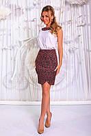 """Летний офисный женский костюм """"Estel"""" юбка-карандаш и блуза"""