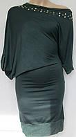 Оригинальное темно-зеленое платье с ассиметричными рукавами. Италия