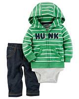 Комплект хлопковый тройка для мальчика Carters Зеленый реглан, Размер 12м, Размер 12м