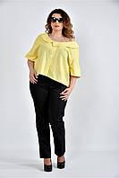 Женская блуза в клетку 0509 цвет желтый размер 42-74