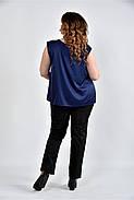 Женская шелковая блуза 0508 цвет синий размер 42-74, фото 2