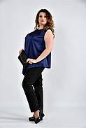 Женская шелковая блуза 0508 цвет синий размер 42-74, фото 3