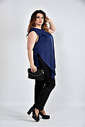 Женская шелковая блуза 0508 цвет синий размер 42-74, фото 4