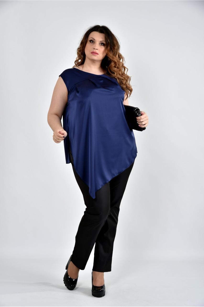 Женская шелковая блуза 0508 цвет синий размер 42-74