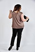 Женская шелковая блуза 0508 цвет кофейный размер 42-74, фото 2
