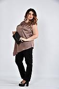 Женская шелковая блуза 0508 цвет кофейный размер 42-74, фото 3