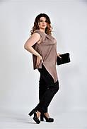 Женская шелковая блуза 0508 цвет кофейный размер 42-74, фото 4