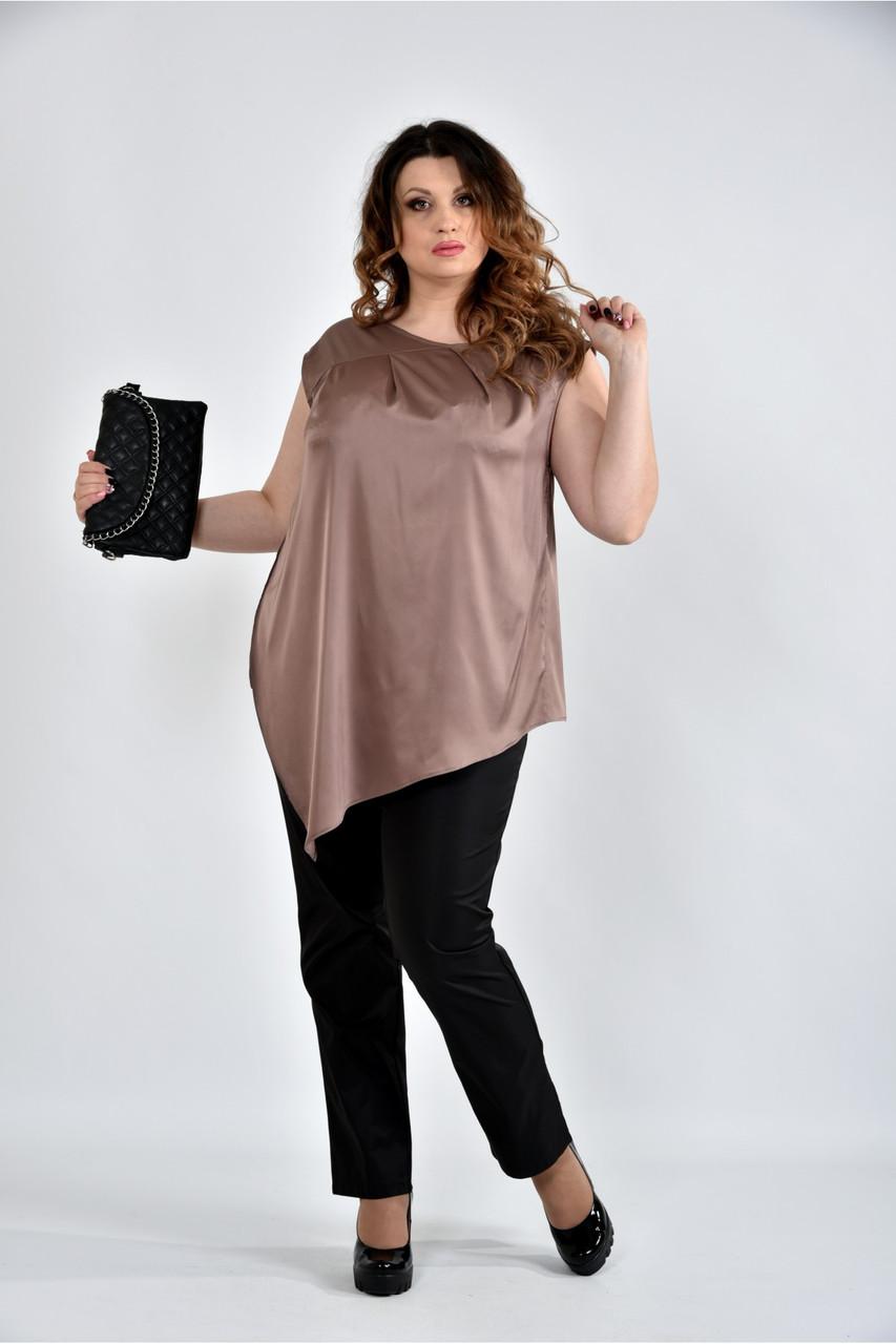 Женская шелковая блуза 0508 цвет кофейный размер 42-74