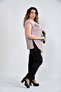 Женская шелковая блуза 0508 цвет пудра размер 42-74, фото 3