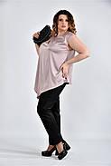 Женская шелковая блуза 0508 цвет пудра размер 42-74, фото 4
