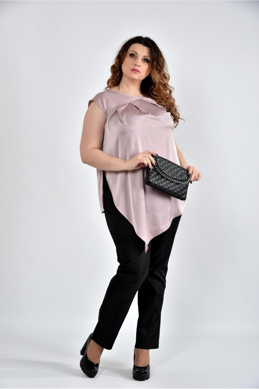 Женская шелковая блуза 0508 цвет пудра размер 42-74