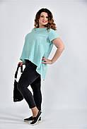 Женская просторая блуза 0506 цвет мята размер 42-74, фото 2