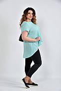 Женская просторая блуза 0506 цвет мята размер 42-74, фото 3