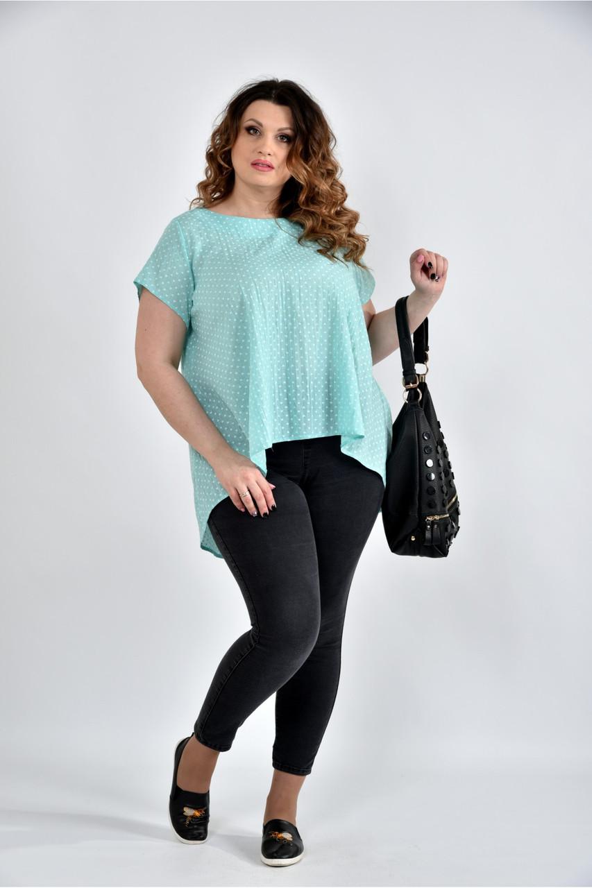 Женская просторая блуза 0506 цвет мята размер 42-74
