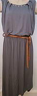 Элегантное серое платье с коричневым поясом. Италия