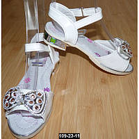 Нарядные детские босоножки для девочки, 26-31 размер, супинатор, кожаная стелька