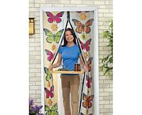 Москитная сетка на магнитах Magic Mesh на дверь Меджик Меш с бабочками