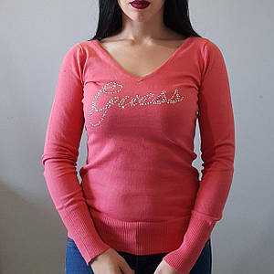 Женский свитер свитшот GUESS коралловый