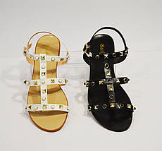Босоножки на плоской подошве черные Bacrate 709-2, фото 3