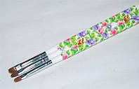 Кисть для геля закругленная с цветочным принтом №8, кисть YRE YKGR-08-C, кисть для ногтей