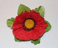 Тканевые  цветочки Мак большой с листьями 21105 поштучно