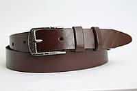 Кожаный ремень 35 мм коричневый пряжка чернёная
