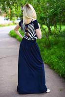 Летнее длинное платье в полоску трикотажное