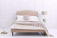 """Двоспальне ліжко """"Rozy"""" 160*200 з м'яким фігурним узголів'ям декорованим гвоздиками на дерев'яних ніжках"""
