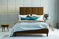 """Двоспальне ліжко """"Rudy"""" 160*200 з м'яким високим узголів'ям з плиток"""