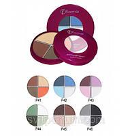 Тени Flormar Pretty Compact Quartet Eye Shadow, тени хорошего качества