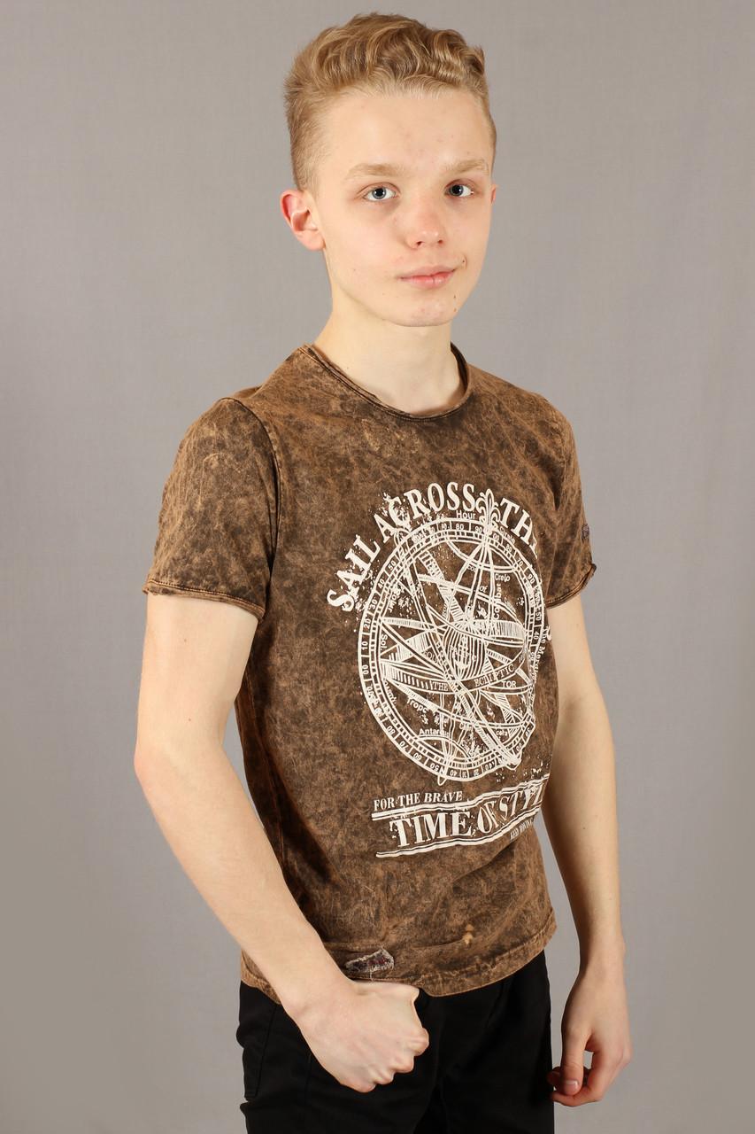 Футболка мужская коричневая варенка Fibak Размеры M/46