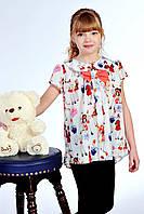 Оригинальная блуза для девочки с бантом
