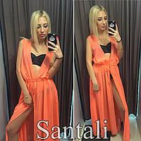Женская шифоновая пляжная накидка в пол цвет оранжевый