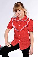 Красная блузка в горошек для девочки