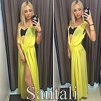 Женская шифоновая пляжная накидка в пол цвет желтый