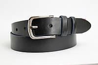 Кожаный ремень 40 мм тёмно-синий гладкий пряжка овальная чернёная