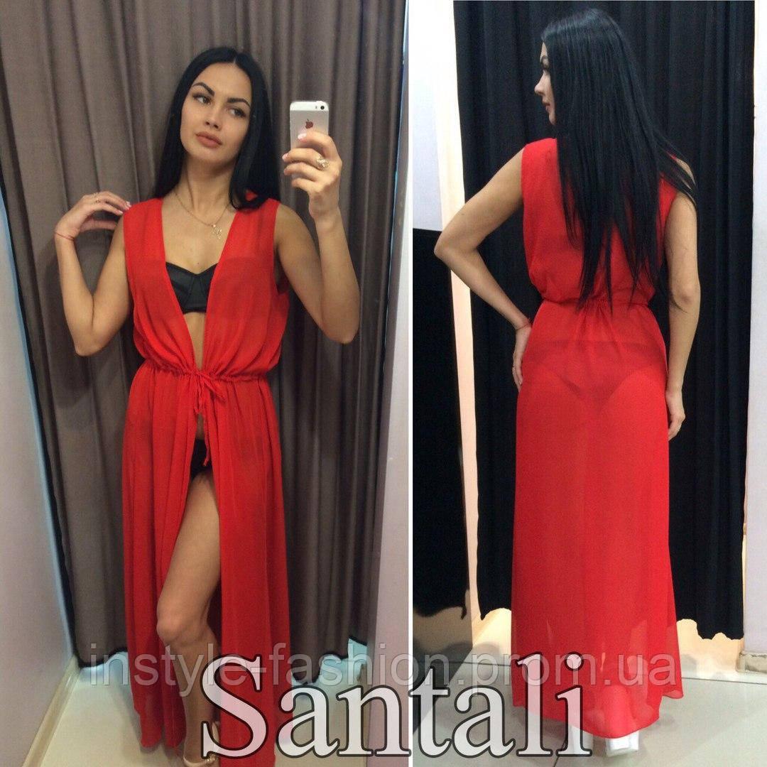 Женская шифоновая пляжная накидка в пол цвет красный