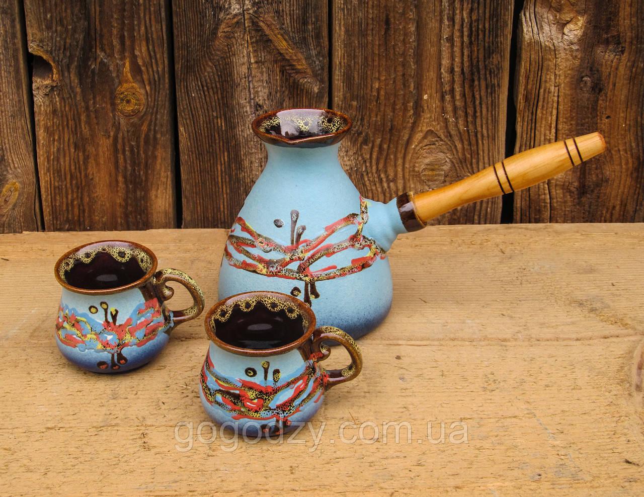 """Набір кавовий (турка 500 мл з двома горнятками), декор """"Крайка"""" блакитна"""