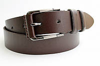 Кожаный ремень 40 мм коричневый гладкий пряжка овальная обшитая кожаной вставкой
