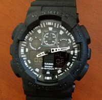 Часы наручные CASIO G-Shock GA 100 (черные с белым)
