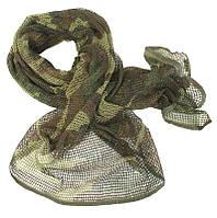Маскировочный шарф-сетка 190*90 cm. в расцветке Woodland. Mil-tec, Германия.