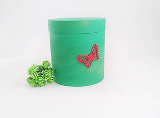 Коробка круглая 160х180 мм зеленая