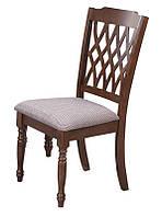 Стул Виченца, деревянный стул с мягким сиденьем шахматная олива, каркас орех