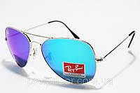 Стеклянные солнцезащитные очки Ray Ban Авиатор с фиолетовым отливом, капли ( Рей Бен Aviator ), Запорожье