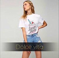 Модная и стильная футболка Коктейль ткань турецкая вискоза белая