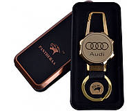Спиральная USB зажигалка-брелок Audi №4687А с фонариком, прекрасно подходит для подарка,металлическая коробка