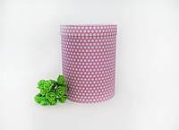 Коробка круглая 160х120 мм розовая в горошек