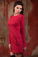 Красивое платье-туника с накладными карманами, низ сзади удлиненный